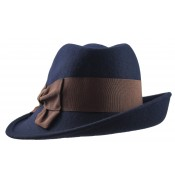 Trilby hat - Sarah - navy/brown