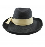 Wide brim hat - Grace - black/ natural