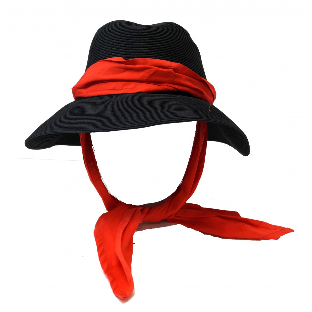 Wide brim hat - Manly - black/red