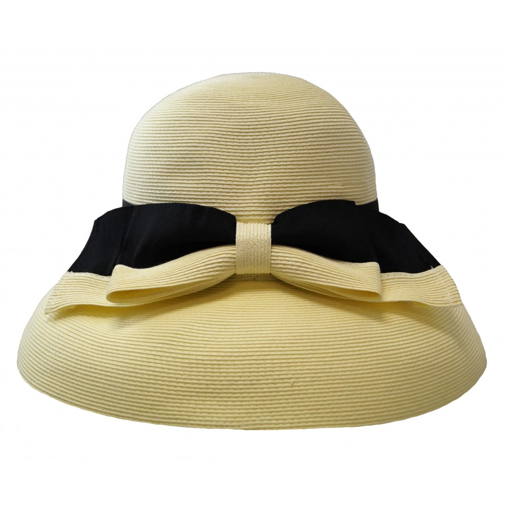 Wide brim hat - Tara - ivory/black