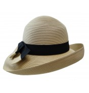 Wide brim hat - Tara - natural/black