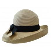 Wide brim hat - Tara - natural/black