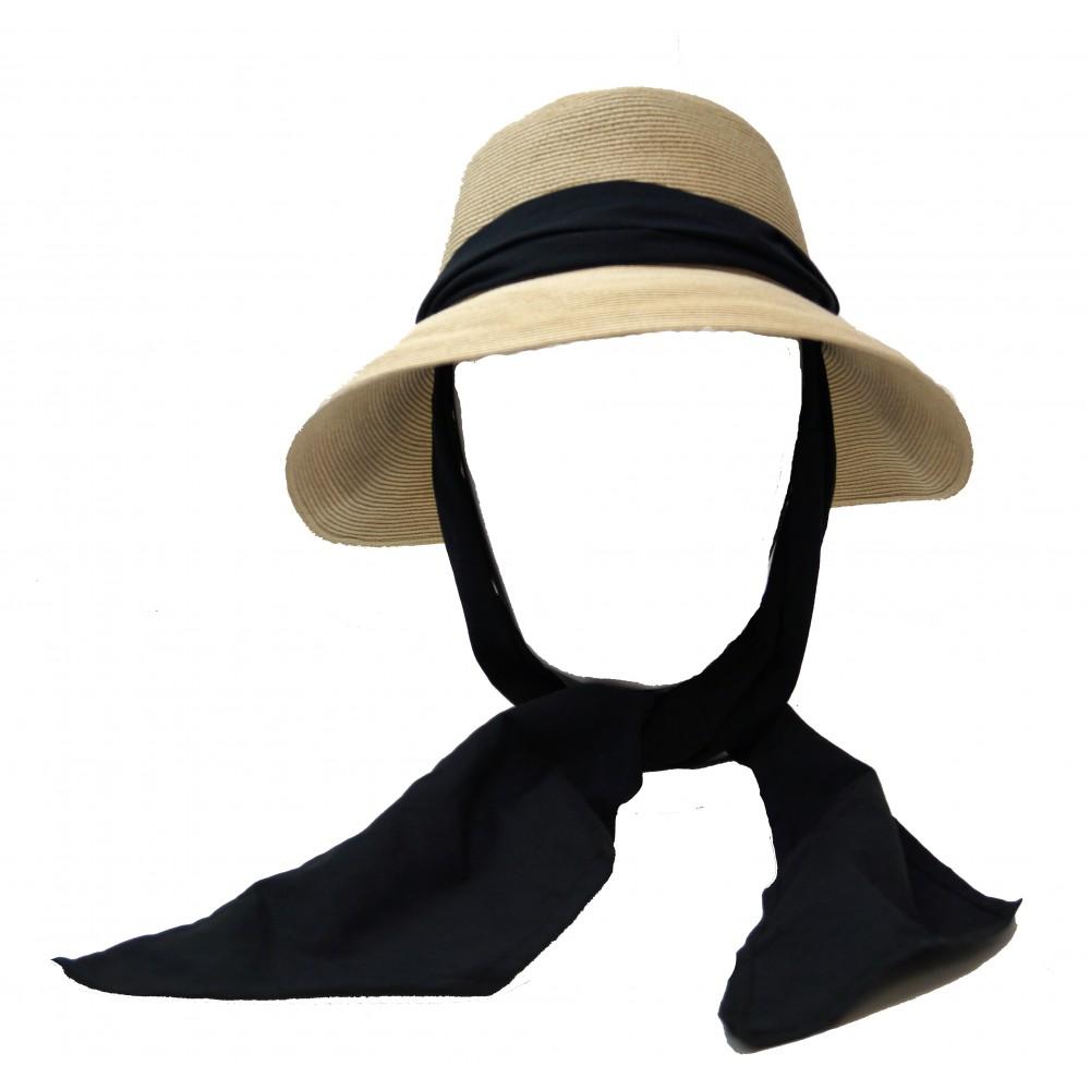 Wide brim hat - Manly - naturel/black