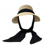 Wide brim hat - Manly - naturel/black