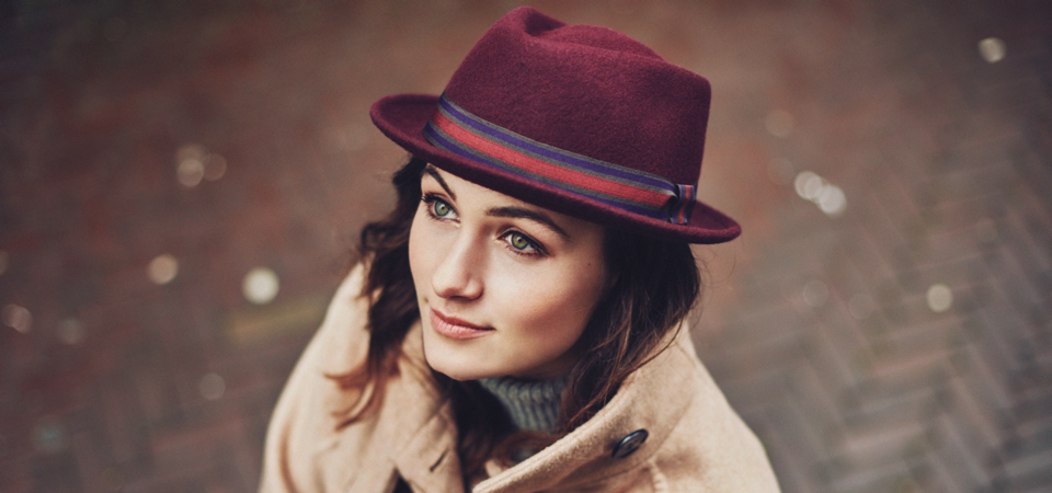 Bronté felt porkpie hat in blue