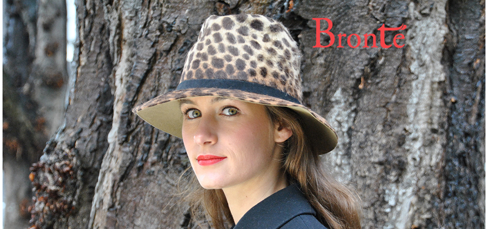 Bronté felt Fedora hat in brown animal print