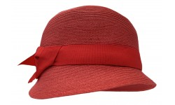 Small brim hat - Cloche - coral red