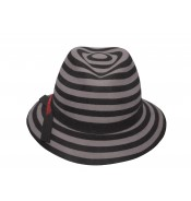 Fedora Hat - Lisa - Grey/Black striped