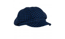 Cap - Romee - blue/black dogtooth tweed