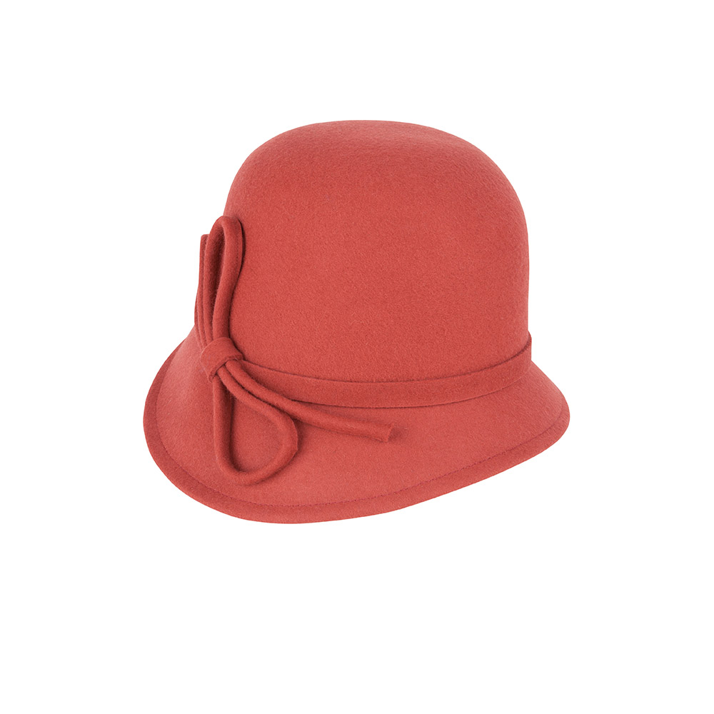 Cloche hat - Luna - coral red wool felt
