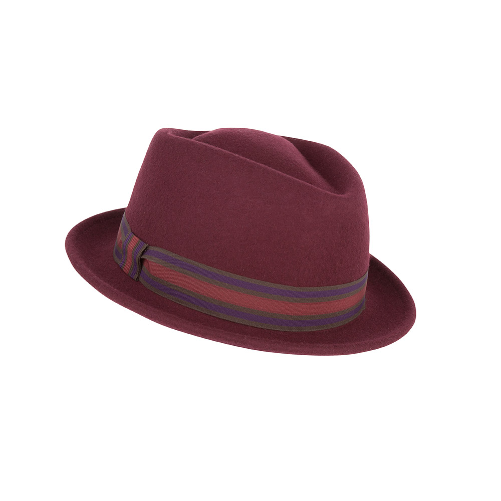 Pork pie hat - Nola - wool felt - burgundy