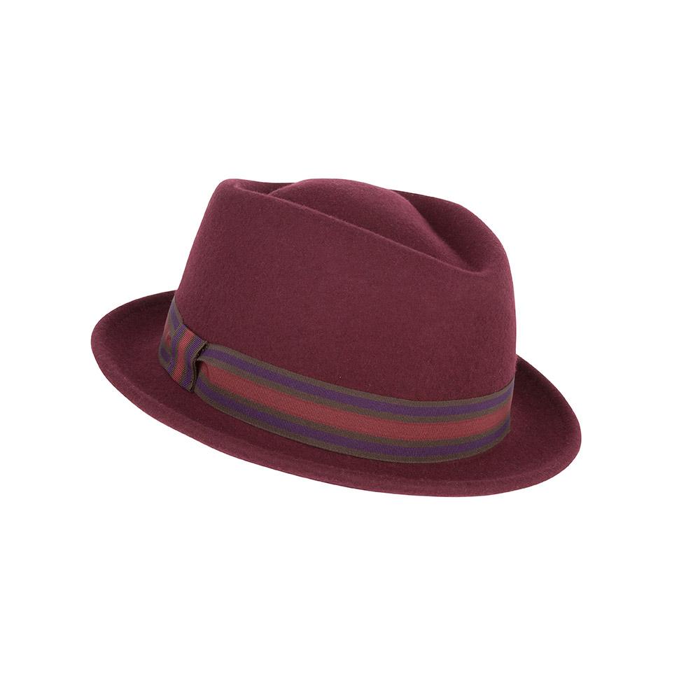af3d44ae718 Bronté Pork pie hat - Nola - wool felt - burgundy - Hat Gallery