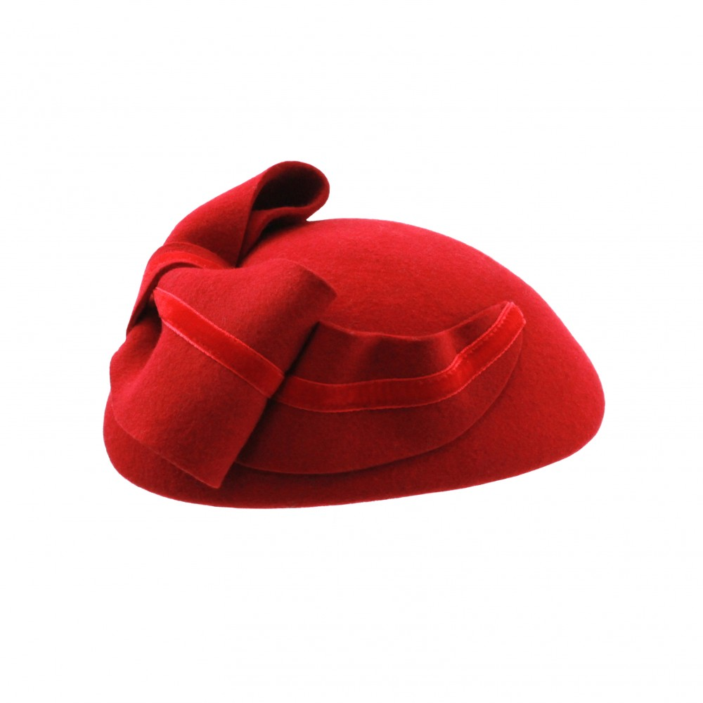 Pillbox hat - Claartje - red
