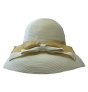 Wide brim hat - Tara - white/beige